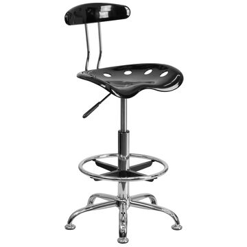 Flash Furniture Black Contemporary Adjustable Height Swivel Drafting Chair | 812581010749