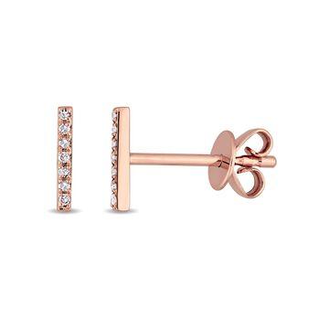 Diamond Accent 14kt Rose Gold Linear Bar Stud Earrings
