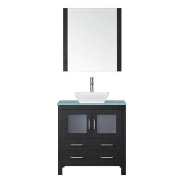 Virtu USA Dior 32-in Zebra Gray Single Sink Bathroom Vanity with Aqua Tempered Glass Top (Mirror and Faucet Included) | KS-70032-G-ZG