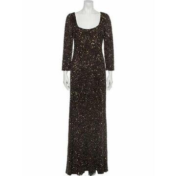 Scoop Neck Long Dress Brown