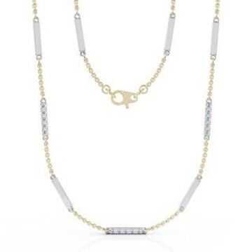 """14K Gold Diamond & Gold Bar Chain Two-Tone Station Necklace, 26"""" (0.55 Ct, G-H, SI2-I1) by Noray Designs"""