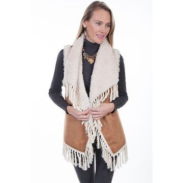Scully 8027 TAN S Womens Faux Fur Vest with Faux Shearling Collar, Tan - Small