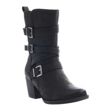 Madeline Women's Trill Moto Boot Black Synthetic