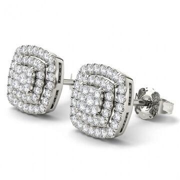 De Couer IGI Certified 14K White Gold 1/2ct TDW Diamond Halo Earrings - White H-I (White)