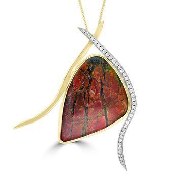 La Vita Vital 14k Yellow Gold Ammolite and 1/2ct TDW White Diamond Pendant Necklace - Orange