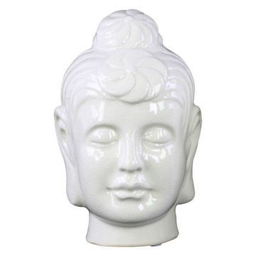 Ceramic Buddha Head With Bun Ushnisha, White, Large