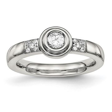 Chisel Stainless Steel Standard Fit Polished Cubic Zirconia Ring (5)