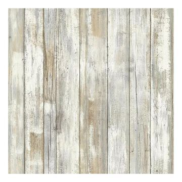 Roommates Faux Distressed Wood Peel & Stick Wallpaper Wall Decal, Natural