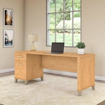Bush Furniture Somerset 72W Office Desk with Drawers in Maple Cross