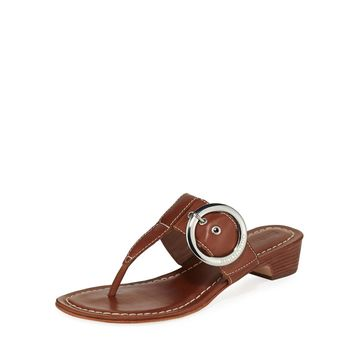 Grace Leather Thong Slide Sandals, Brown