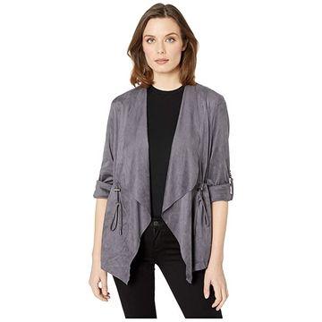 KUT from the Kloth Dianne Faux Suede Drape Anorak Jacket (Dark Grey) Women's Clothing