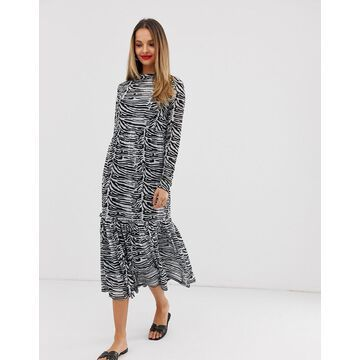Vila zebra print mesh midi dress