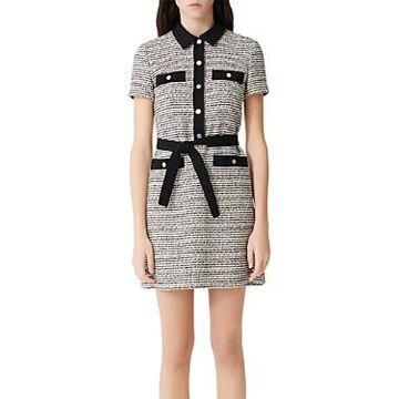 Maje Renala Belted Tweed Mini Dress