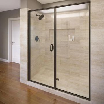 Basco Infinity 76.125-in H x 46-in to 47-in W Semi-Frameless Hinged Oil Rubbed Bronze Shower Door (Clear Glass) | 1813A-47CLOR