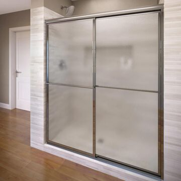 Basco Deluxe 71.5-in H x 52-in to 54-in W Framed Sliding Chrome Shower Door (Frosted/Patterned Glass) | 7150-54