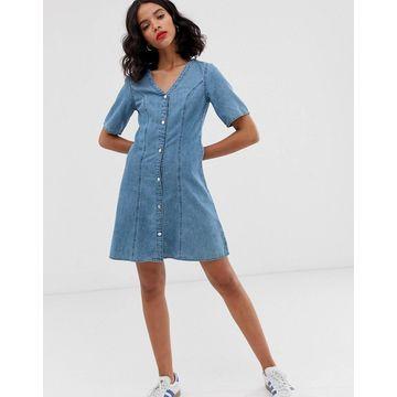 Monki denim v-neck short sleeve mini dress in blue