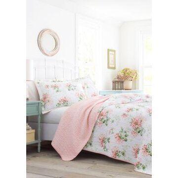 Laura Ashley Honeysuckle Cotton Quilt Set - -