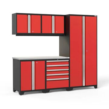 NewAge Products Pro Series 92-in W x 85.25-in H Deep Red Steel Garage Storage System Stainless Steel | 59816