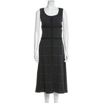 Striped Midi Length Dress Grey
