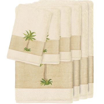 Authentic Hotel and Spa Turkish Cotton Palm Tree Embroidered Cream 8-piece Towel Set