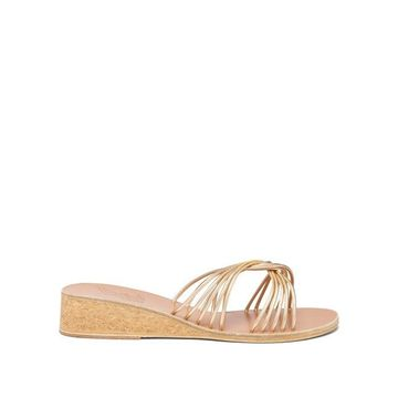 Ancient Greek Sandals - Xanthi Leather Wedges - Womens - Gold
