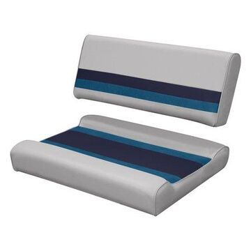 Wise 8WD125FF-1011 Deluxe Series Pontoon Flip Flop Bench Seat and Backrest Cushion Set, Grey/Navy/Blue