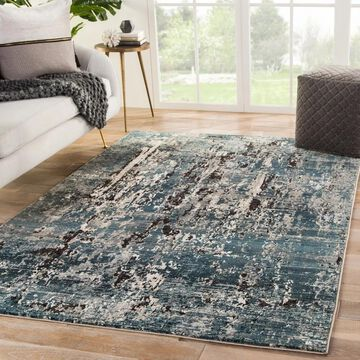 Juniper Home Muir Blue/Ivory Abstract Area Rug