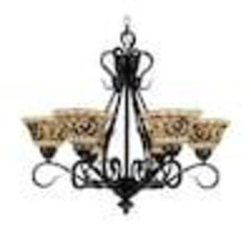 Westmore Lighting Saint Augustine 6-Light Vintage Antique Coastal Stained Glass Shaded Chandelier