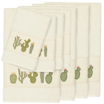 Authentic Hotel and Spa Turkish Cotton Cactus Embroidered Cream 8-piece Towel Set