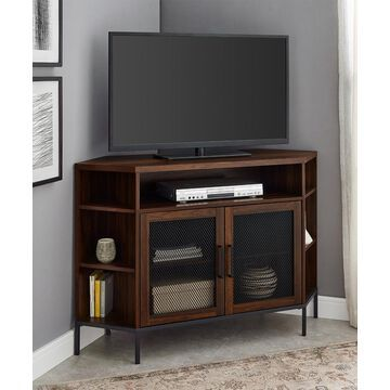 Walker Edison Media Stands Dark - 48'' Dark Walnut Mesh-Door Corner Media Console