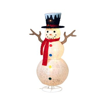 """Sterling 48"""" Tall, Lighted Snowman with Colored Buttons, Scarf and Top Hat"""