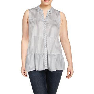 Cupio Womens Striped Sleeveless Button-Down Top