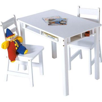 Lipper International Children's Rectangular Table and 2 Chairs Set with Shelves, Multiple Colors