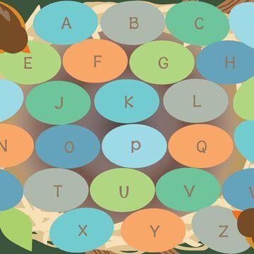 Robins Eggs Alphabet Seating Rug, 9'x12' Rect