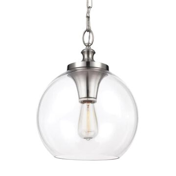 Feiss Tabby Brushed Steel Modern/Contemporary Clear Glass Globe Medium (10-22-in) Pendant Light | P1307BS