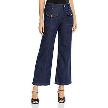 See by Chloe High-Waisted Wide-Leg Jeans in Royal Navy
