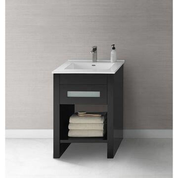 Ronbow Kendra 23-inch Bathroom Vanity Set in Black with Ceramic Bathroom Sink Top in White (23