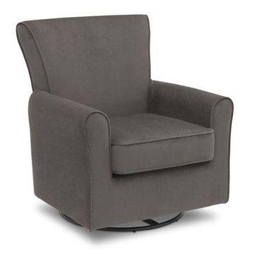 Delta Children Elena Glider Swivel Rocker Chair, Grey Velvet
