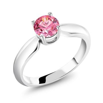 0.84 Ct Fancy Pink 925 Sterling Silver Ring Made With Swarovski Zirconia