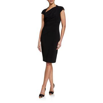 Asymmetric Neck Ruched Side Sheath Dress