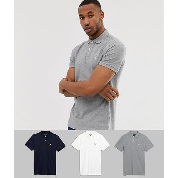 Abercrombie & Fitch 3 pack icon logo pique polo in white/gray/black