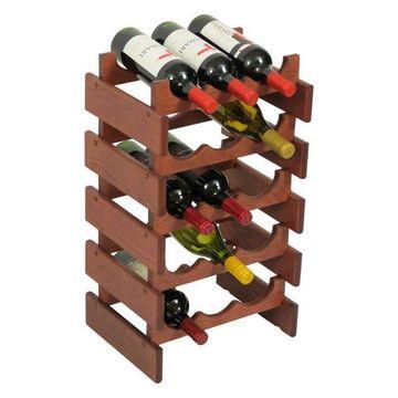 15-Bottle Wine Rack, Mahogany Finish