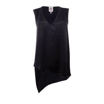 Anne Klein Women's Asymmetrical Blouse - Black