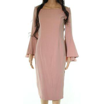 Bardot Pink Ruffle Sleeve Off Shoulder Women 4 Midi Sheath Dress