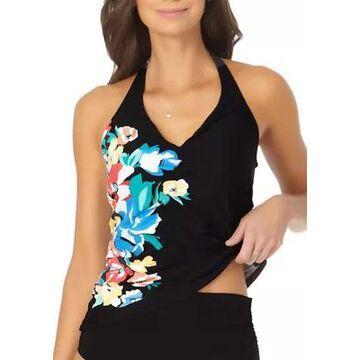 Anne Cole Women's Floral Shirred Halter Tankini Swim Top - -