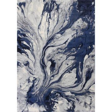 KAS Rugs Illusions 3 x 5 Blue Indoor Abstract Mid-Century Modern Area Rug   ILL620133X411