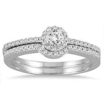 Marquee Jewels 10K White Gold 2/5CT Diamond Halo Bridal Set