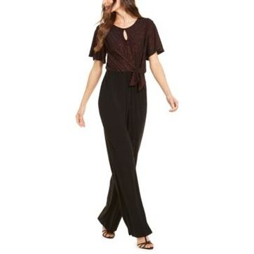 Ny Collection Petite Metallic Tie-Front Jumpsuit
