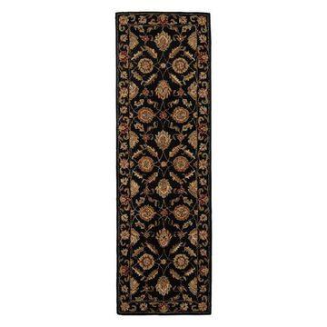 Jaipur Living Callisto Handmade Floral Black/Red Runner Rug, 2'6