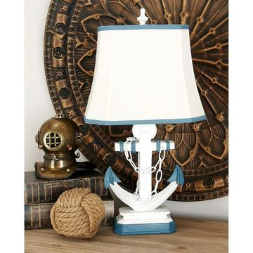 Set of 2 Coastal White and Blue Anchor Table Lamps by Studio 350